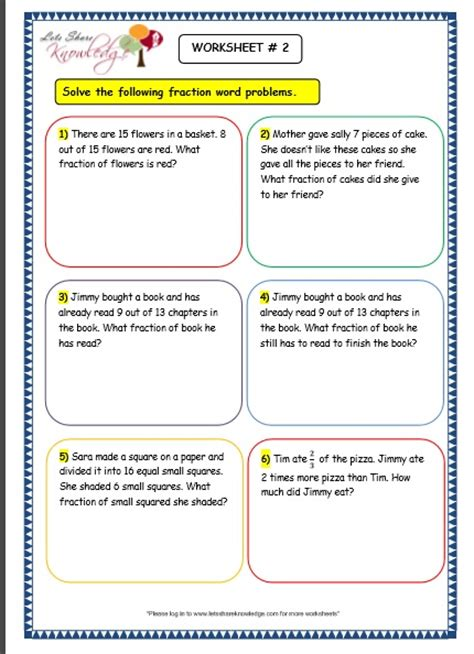 fraction word problem worksheets grade 3 word problems