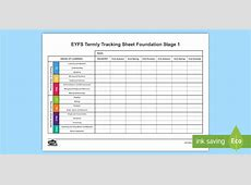 EYFS Individual Termly Tracking Sheet FS1 EYFS, track sheet
