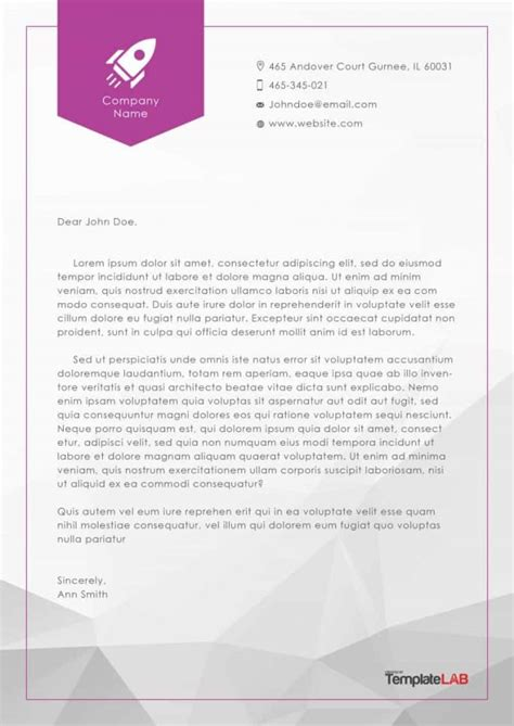 letterhead templates examples company