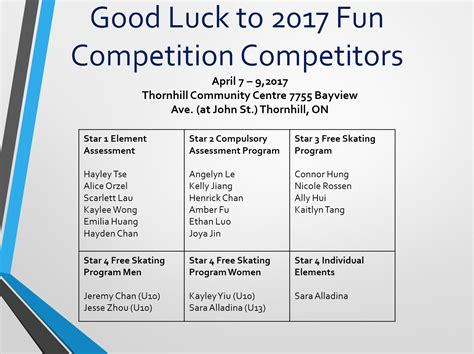 good luck   fun competition skaters york region