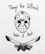 Jason Mask Voorhees Hockey Drawing Template Coloring Sketch sketch template