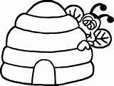 Beehive Coloring Bee Getdrawings sketch template