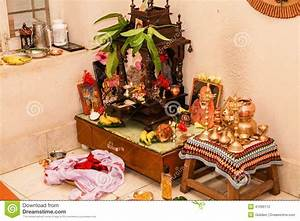 Typical Prayer Room Hindu South Indian Family Home Stock