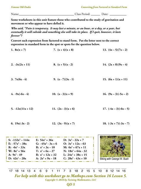Math Standard Form Worksheets  Lf 15 Converting From Standard Form To Slope Intercept
