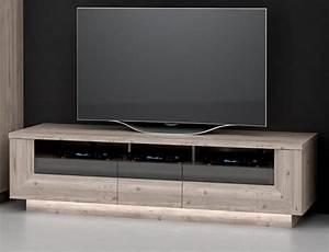 Meuble Tele Gris : meuble tv 3 tiroirs stairs chene gris gris ~ Teatrodelosmanantiales.com Idées de Décoration