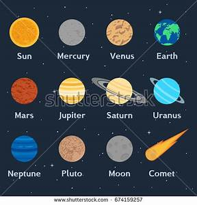 Vector Illustration Planets Solar System Comet Stock ...