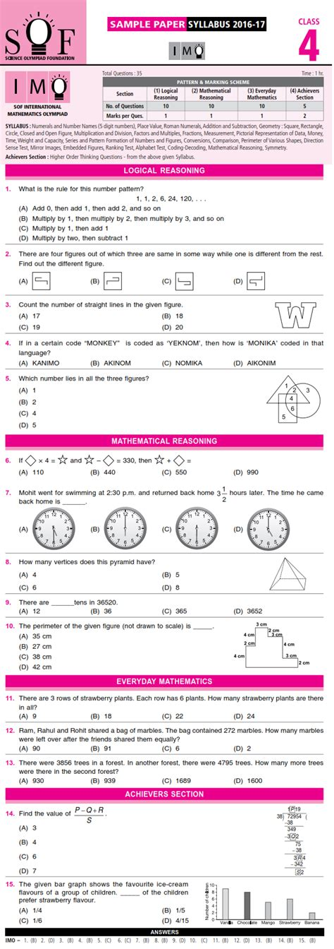 maths olympiad for class 4 free sle papers free maths