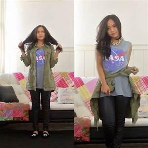 Siska Putri - H&M Military Jacket, Forever 21 Nasa Tees ...