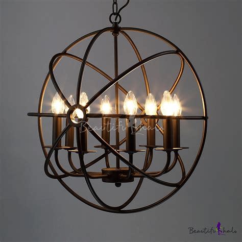 8 light black finished globe cage industrial suspension