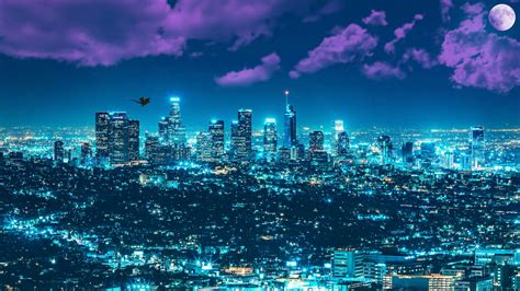los angles night cityscape    wallpaper