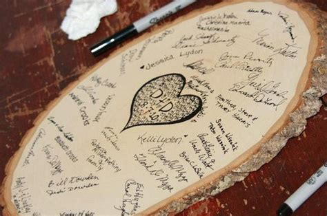 tree slice guest book  knot