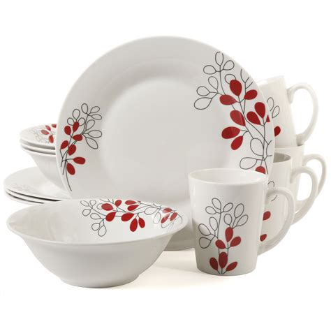gibson home scarlet leaves  piece dinnerware set white