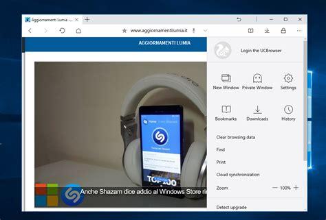 disponibile al la nuova applicazione ufficiale uc browser per windows 10 pc