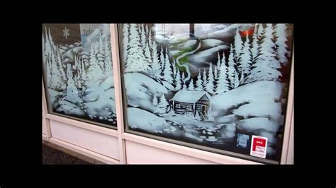 christmas window snow scene painting youtube
