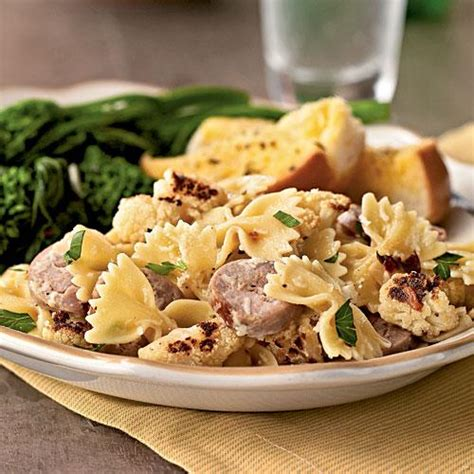 cooking light dinner recipes farfalle with cauliflower and turkey sausage staff