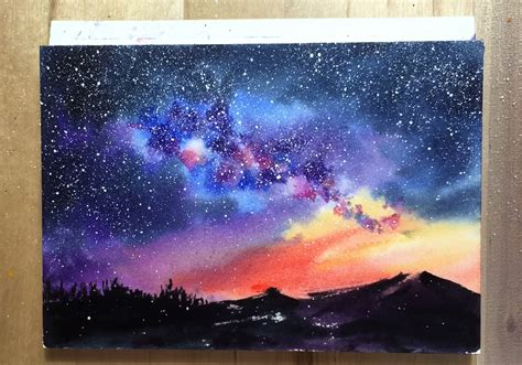 Starry Night Painting Using Easy Watercolor Techniques