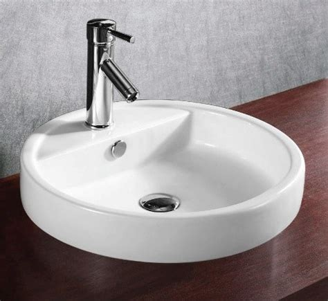Shallow Modern Circular Self Rimming Ceramic Sink Modern