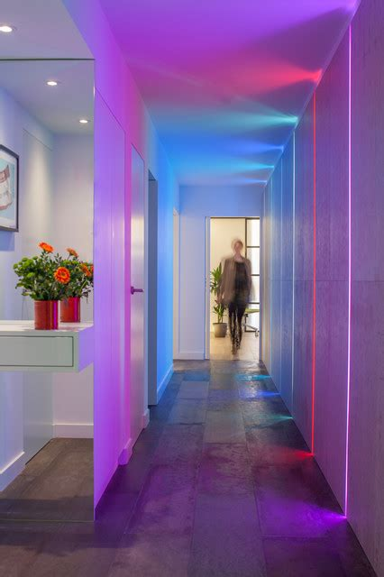 corridor with led installation contemporary hall