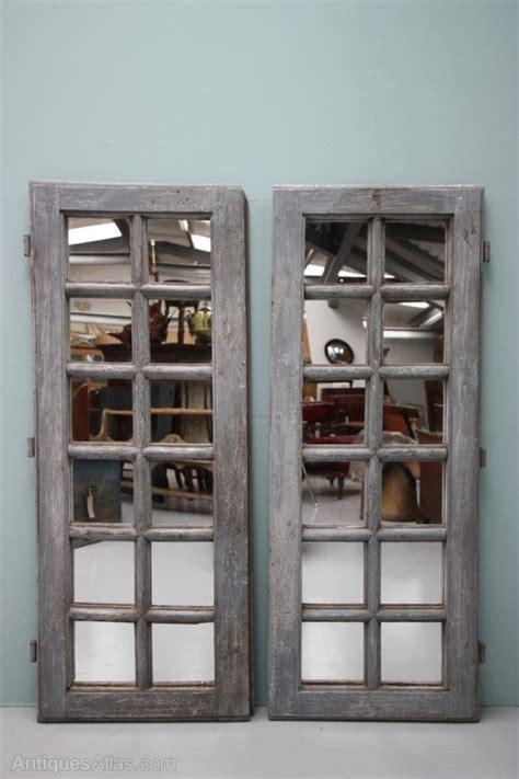 antiques atlas pair  antique mirror doors  oak paint