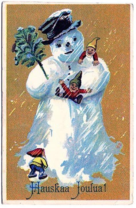 vintage clip art darling snowman postcard finland