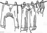 Laundry Clothes Drawing Clipart Line Wet Clothing Vector Clip Sketch Istock Background Cliparts Illustration Only sketch template