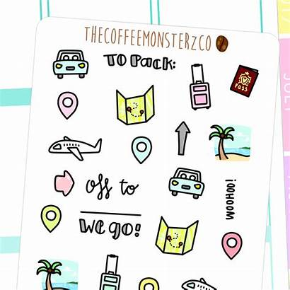Doodles Travel Doodle Stickers Planner Drawn Hand