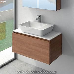 Meuble Avec Vasque : vasque design pose sur meuble suspendu de 85cm tiroir achat vente sur salle de bains ~ Teatrodelosmanantiales.com Idées de Décoration