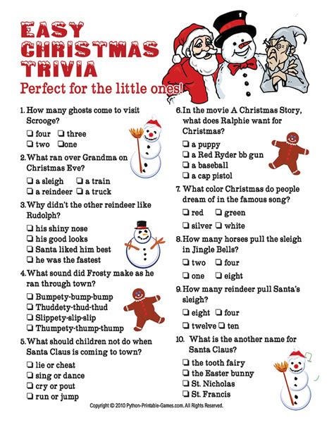 Christmas Trivia Questions For Kids All Ideas About