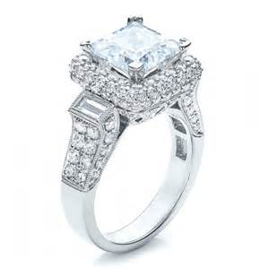 jewelers princess cut engagement rings baguette side stones princess cut engagement ring vanna k 100037