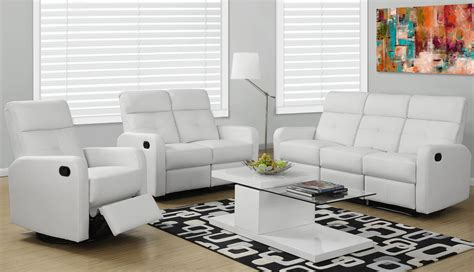 wh  white bonded leather reclining living room set