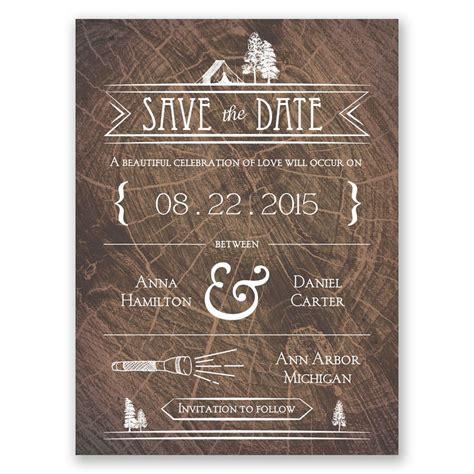 making camp save  date card invitations  dawn