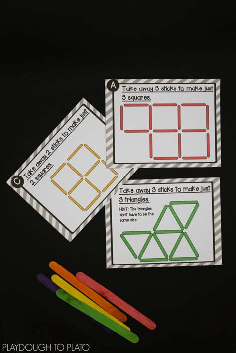 craft stick puzzles playdough  plato