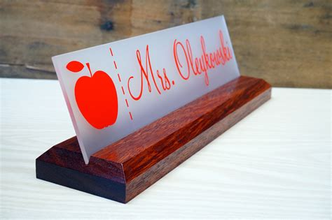 wooden name signs for desk acrylic teacher desk name plate with wood plaque personalized