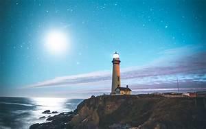 Wallpaper Lighthouse, Starry sky, Ocean, Beach, Moon, 4K