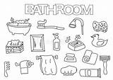 Bathroom Coloring Outline Hand Template Elements Drawn Illustration Doodle Vector Game Mouth Nose Alamy Supplies Bath Clip Shower sketch template