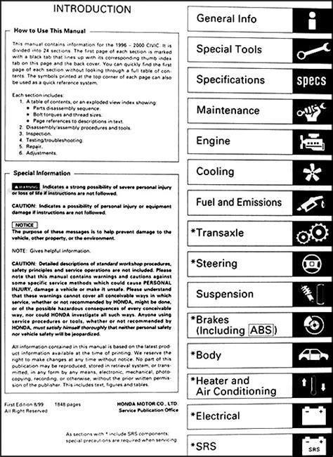 old cars and repair manuals free 1996 honda accord on board diagnostic system 1996 2000 honda civic repair shop manual original