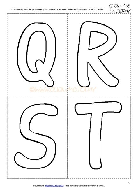alphabet capital letters cards qrst