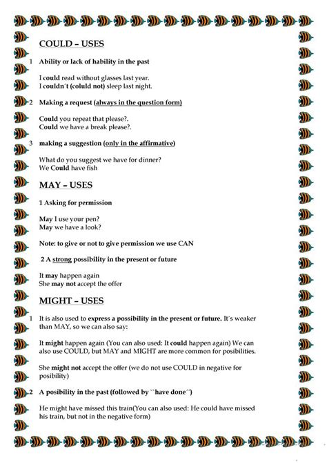 modal verbs part 1 can could may might worksheet free