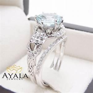 unique aquamarine engagement ring set 14k white gold 2 With unique engagement wedding ring sets