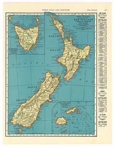 Vintage Map Of New Zealand Tasmania Figi Original 1935