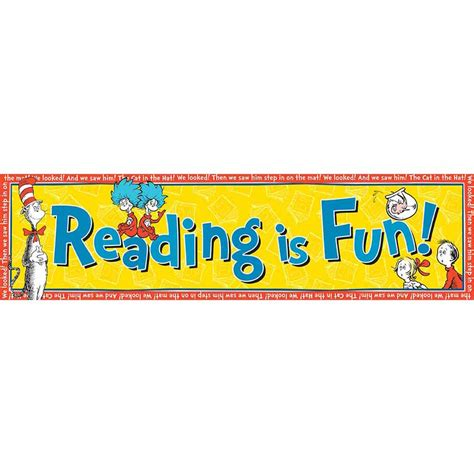 Cat In The Hat Reading Is Fun! Classroom Banners  Eureka. Jet Martinez Murals. Tequilas Murals. Order Stickers In Bulk. Nc State Logo. Map Mural. Educational Institution Banners. Colourful Stickers. Water Restriction Signs Of Stroke