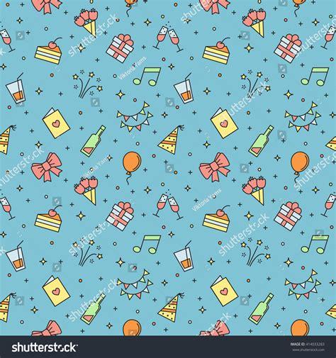 happy birthday multicolored vector seamless pattern
