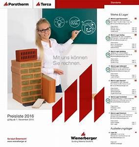 Wienerberger Poroton Preisliste : preisliste 2016 g ltig ab by wienerberger ag issuu ~ Frokenaadalensverden.com Haus und Dekorationen