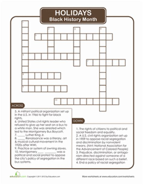 Black History Month Crossword Puzzle  Worksheet Educationcom