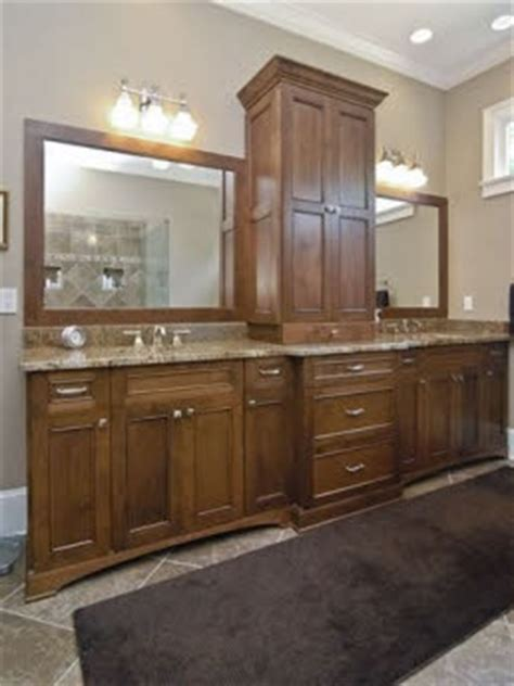 double vanity with center storage tower bath remodel