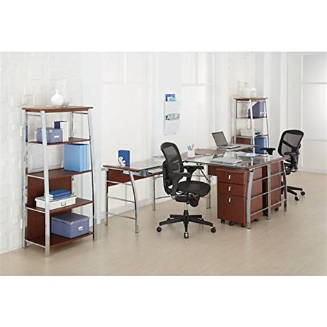 realspace mezza l shaped glass computer desk realspace mezza quot l quot shaped glass computer desk cherry