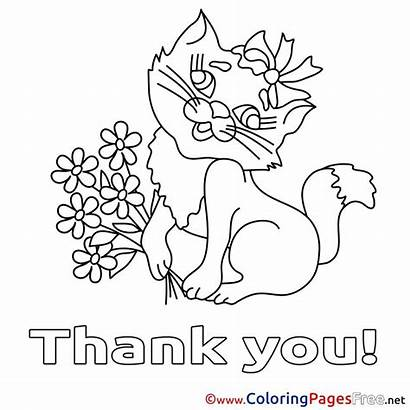 Thank Coloring Printable Pages Flowers Cat Teacher