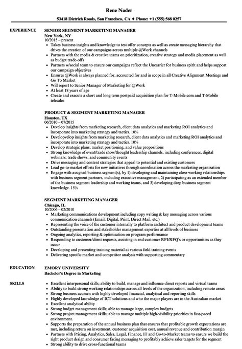 Segment Marketing Manager Resume Samples | Velvet Jobs
