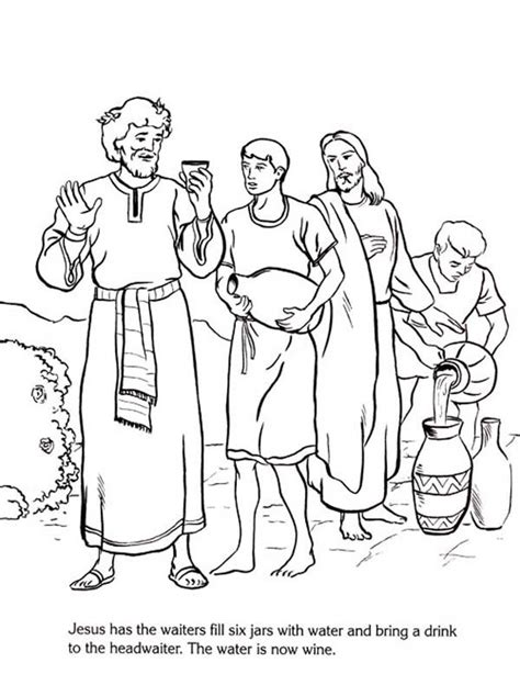 jesus turns water  wine coloring pages coloring home