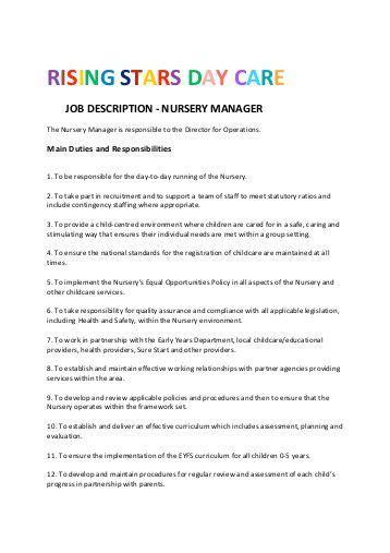 stadium nurseries description nursery manager 875 | rising stars day care job description nursery manager